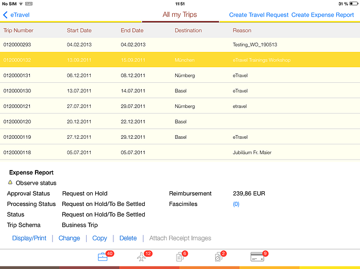 SAP Expense Report on iPad