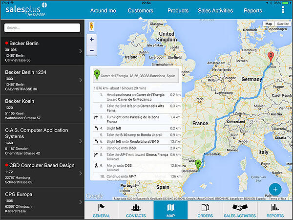 Mobile sales for SAP ERP offline - display customer on a map, including navigation